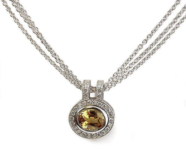 14k Yellow Sapphire and Round Brilliant Diamond Pendant