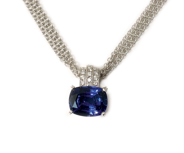 14k Cushion Tanzanite and Round Brilliant Diamond Pendant