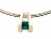 14k Yellow Gold Blue-Green Tourmaline Pendant on an Omega