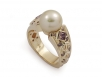 Pearl and Cognac Diamonds in 18k Yellow