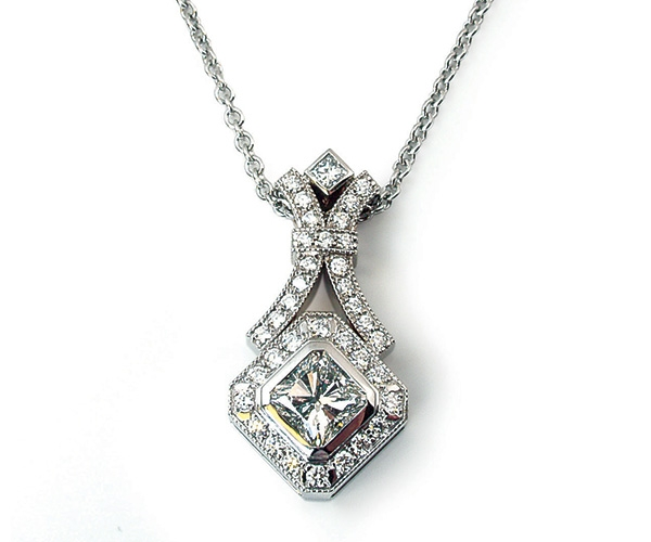 18k Square Radiant with Round Brilliant and Princess Cut Diamonds