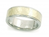 Men's Band with Hammer Finish 14k Yellow and Polished Palladium