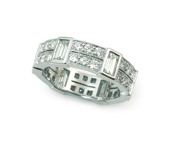 Round Brilliant and Baguette Eternity Band