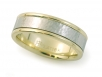 Two-tone Hammer Finished Platinum and Polished 18k Yellow Men's Band