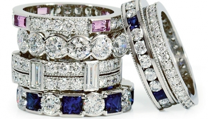 Home Diamond And Sapphire Eternity Bands Short