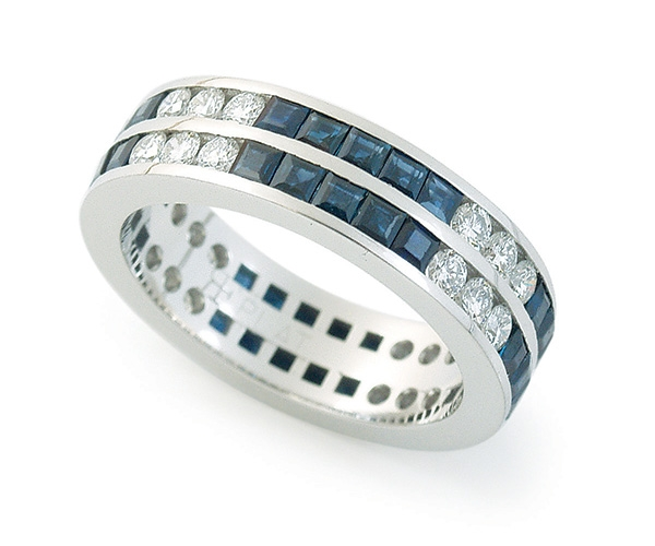 Round Brilliant and Blue Sapphire Eternity Band