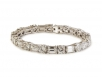 Platinum Round Brilliant and Emerald Cut Bracelet