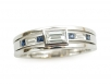 Men's Band with Blue Sapphires and Diamonds Set in 14k White