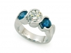 Blue Sapphire and Diamond Set in 14k White