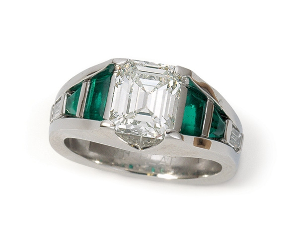 Emeralds and Diamonds Set in Platinum