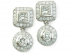 Princess and Round Brilliant Diamond Earrings