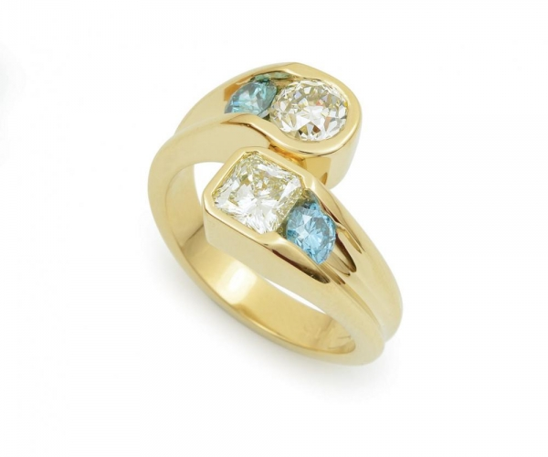 White and Blue Diamonds in 14k Yellow Gold