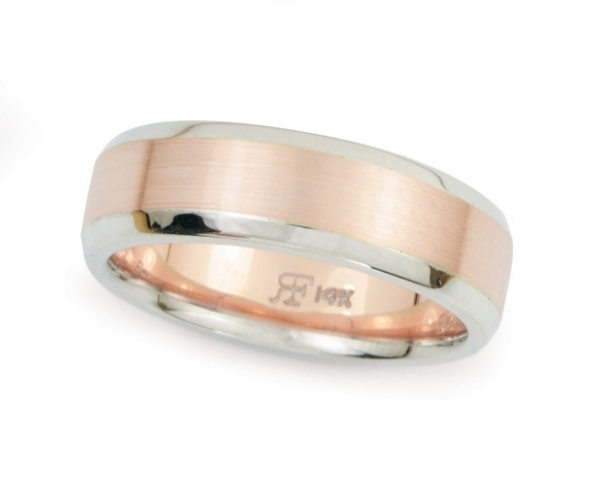 Men's Band With Brush-Finish in 14k Rose and White Gold
