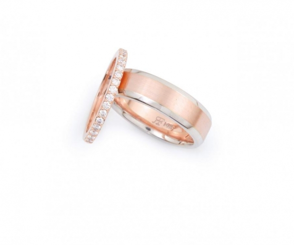 14k Rose Gold and Diamond Wedding Band and 14k Rose and White Men's Band