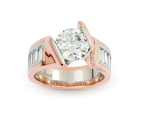 Round Brilliant and Baguettes in Rose Gold and Platinum