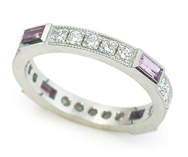 Pink Sapphire and Diamonds Set in Platinum Eternity Band