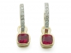 18k Cushion Rubies with Round Brilliant Diamond Hoops