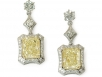 Radiant Yellow Diamonds and Round Brilliant Diamond Earrings